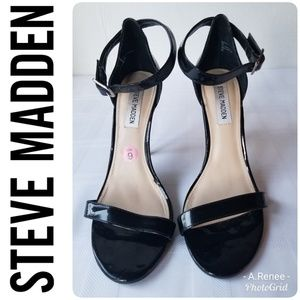 Steve Madden Black Ankle Strap Heel Sandals - US 9